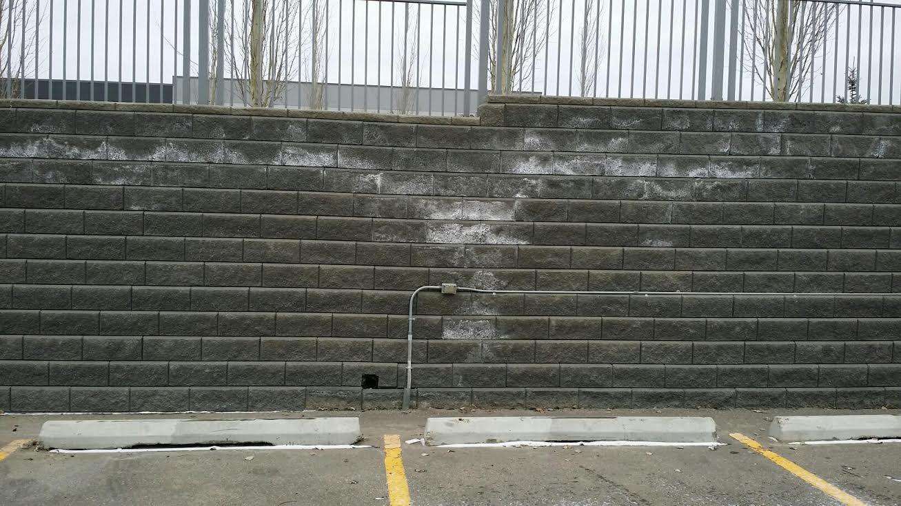 dry ice blast stone wall before